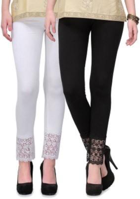 AbsoulteDesi Women's White, Black Leggings