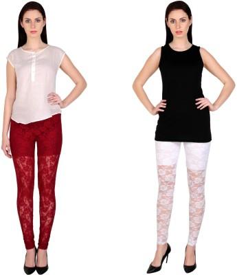 Simrit Women's Maroon, White Leggings
