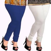 Appeal Women's White, Blue Leggings(Pack of 2)