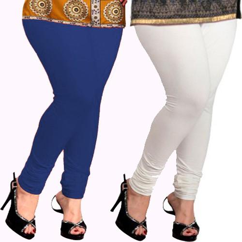 Appeal Womens White, Blue Leggings(Pack of 2)