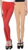 iHeart Women's Red, Beige Jeggings (Pack...