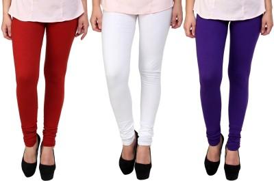 Legemat Girl,s Maroon, White, Purple Leggings