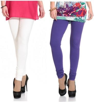 Ahhaaaa Women's White, Purple Leggings