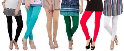 Prekrasna Women,s Black, Light Blue, Gold, Green, Red, White Leggings