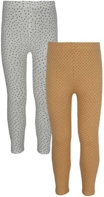 Jazzup Girl's Beige, White Leggings