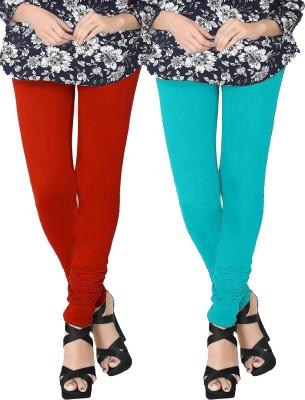 JV Wears Women's Orange, Light Blue Leggings