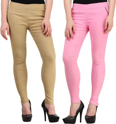 Jainish Women's Beige, Pink Jeggings