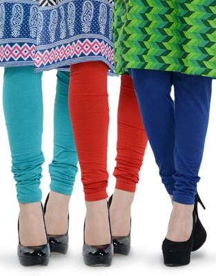 Tjaggies Women's Light Blue, Blue, Red Leggings