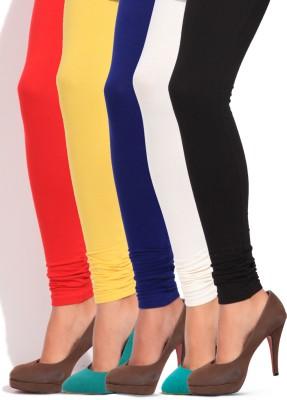 Shree Women's Multicolor Leggings(Pack of 5) at flipkart
