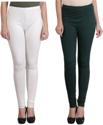 Ahhaaaa Women's White, Green Leggings