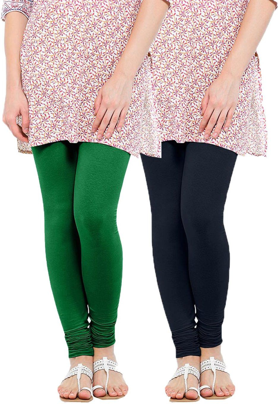 Linking Threads Womens Dark Green, Dark Blue Leggings(Pack of 2)