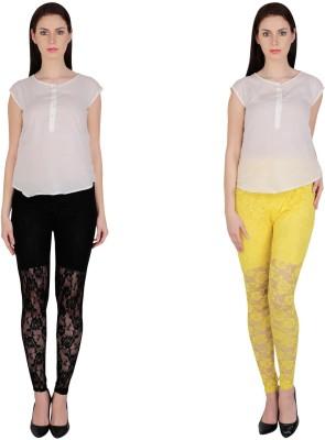 Simrit Women's Black, Yellow Leggings