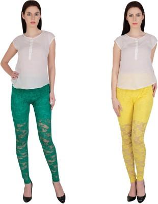 Simrit Women's Green, Yellow Leggings