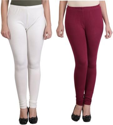 Ahhaaaa Women's White, Maroon Leggings