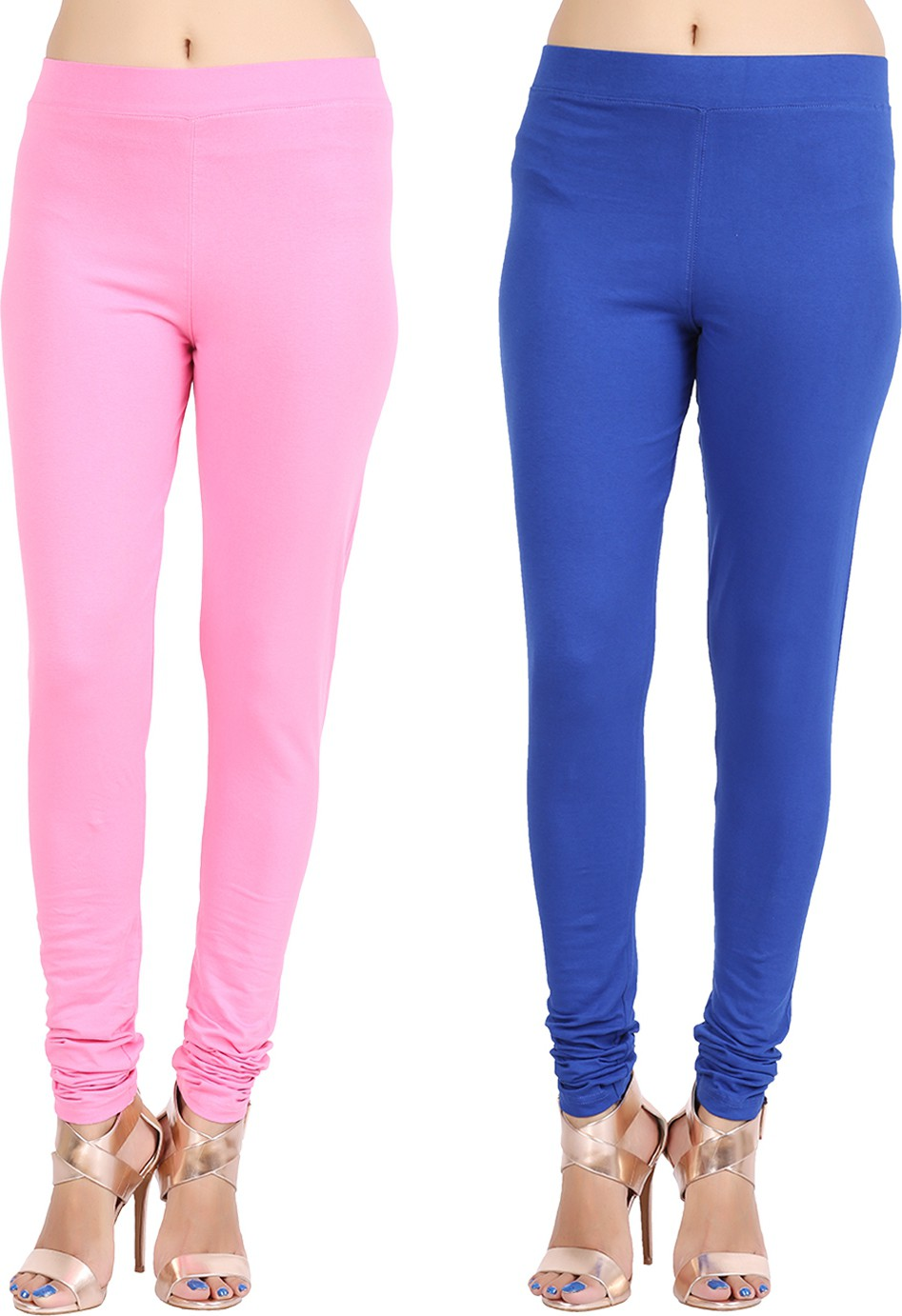 Lula Ms Womens Pink, Blue Leggings(Pack of 2)