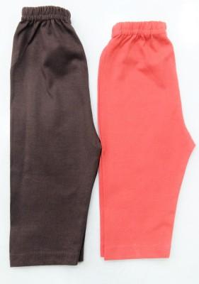 Desire Baby Girl's Red, Brown Leggings