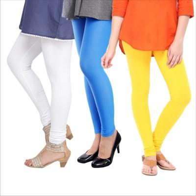Melisa Women's White, Blue, Yellow Leggings