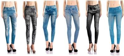 Jeansi Women's Blue, Blue, Black, Black, Blue, Blue Jeggings
