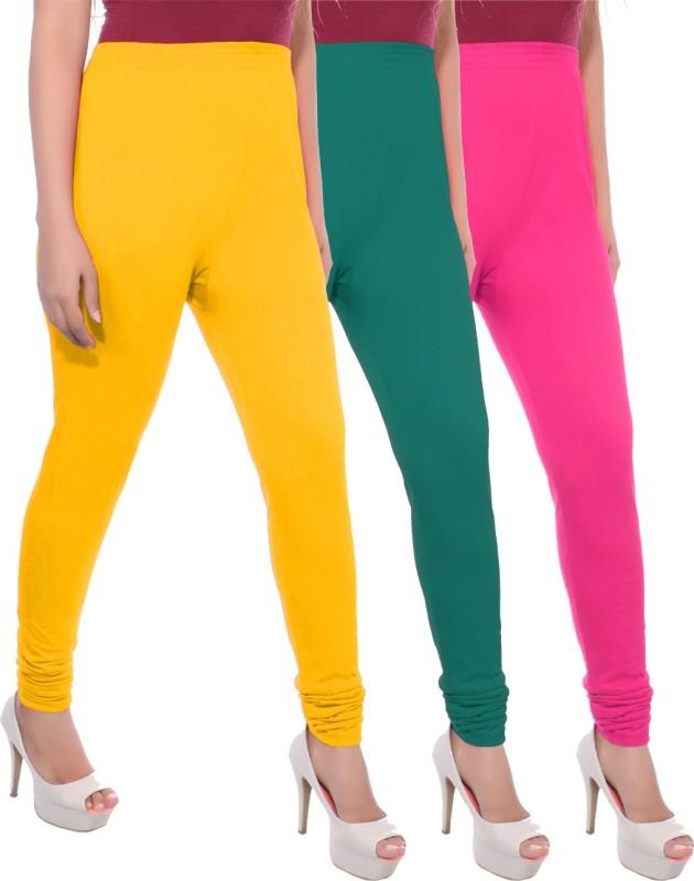 Apple Knitt Wear Women's Maternity Wear Yellow, Green, Pink Leggings(Pack of 3)