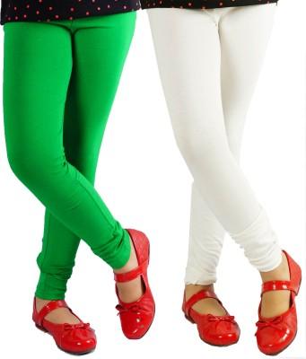 Naughty Ninos Girl's White, Green Leggings