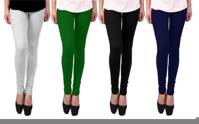 Escocer Women's White, Black, Blue, Green Leggings