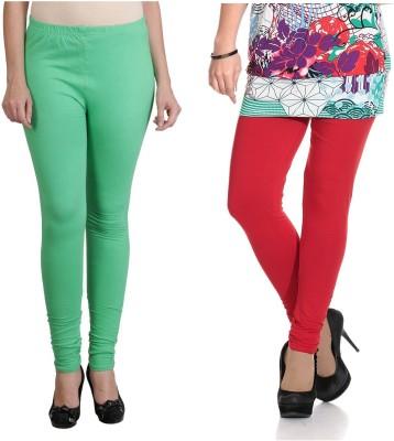 Ahhaaaa Women's Light Green, Red Leggings