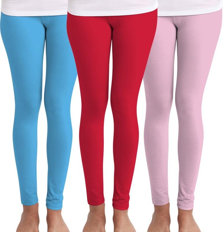 Huetrap Women's Blue, Red, Pink Leggings(Pack of 3)