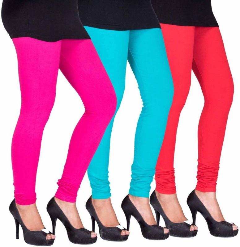 C&S Shopping Gallery Women's Pink, Light Blue, Red Leggings(Pack of 3)