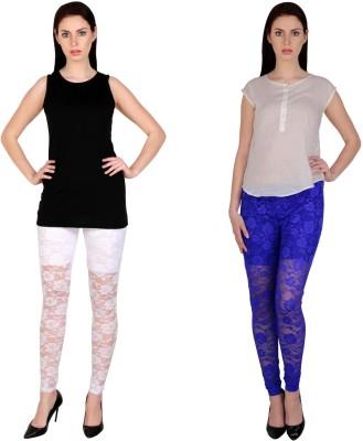 Simrit Women's White, Blue Leggings