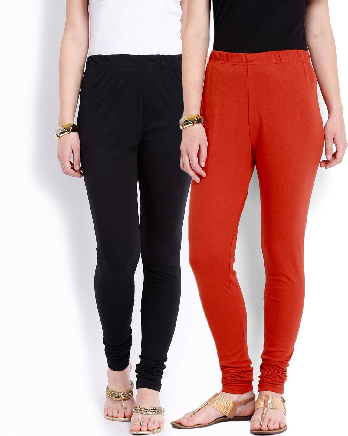 Ten on Ten Womens Black, Red Leggings(Pack of 2)
