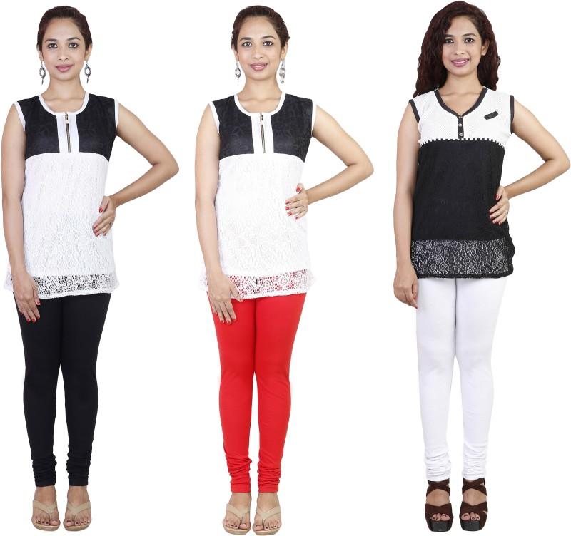 Rann Women's Black, White, Red Leggings(Pack of 3)