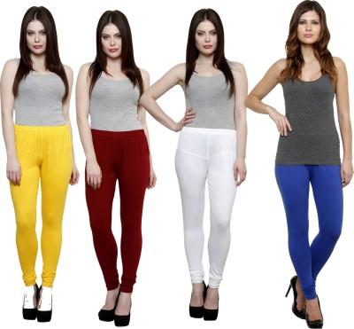 Pistaa Women's Yellow, Maroon, White, Blue Leggings