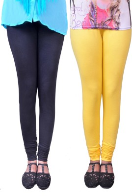 Anubhaviya Women's Black, Yellow Leggings