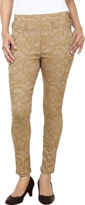 Purple Feather Women's Beige Jeggings