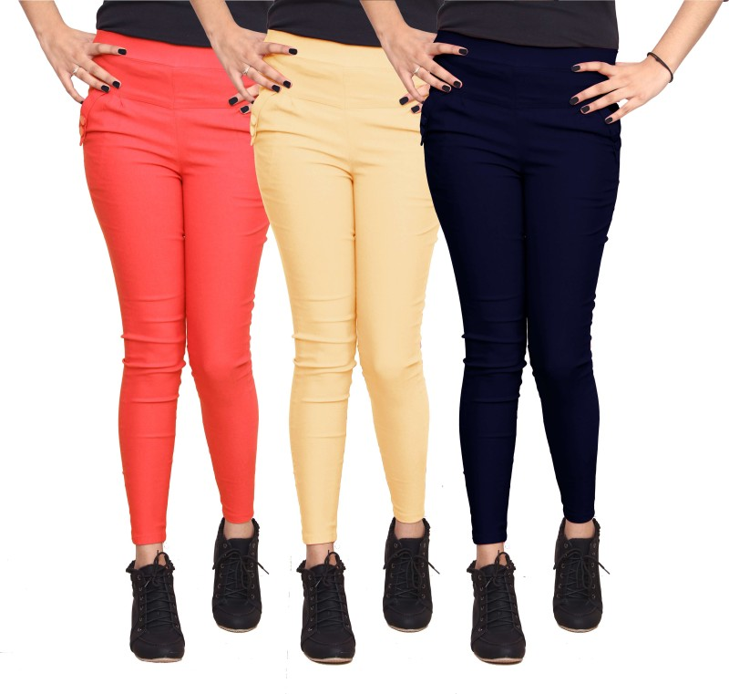 Xarans Women's Multicolor Jeggings(Pack of 3)