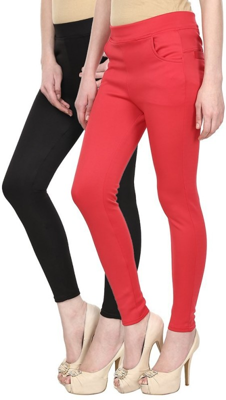 Skyline Trading Women's Black, Red Treggings(Pack of 2)