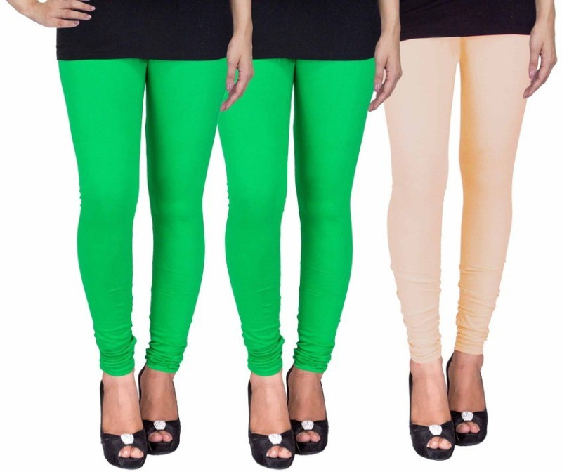 C&S Shopping Gallery Women's Green, Green, Beige Leggings(Pack of 3)