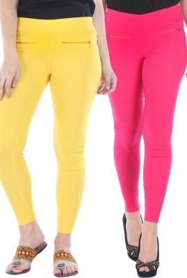 Bitterlime Women's Yellow, Pink Jeggings