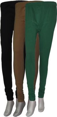 La Vastraa Women's Black, Beige, Green Leggings