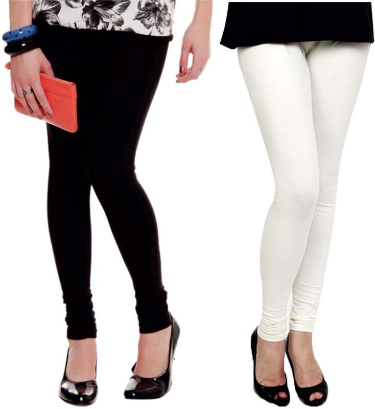 Xarans Women's White, Black Leggings(Pack of 2)