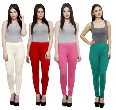 Pistaa Women's White, Red, Pink, Green Leggings