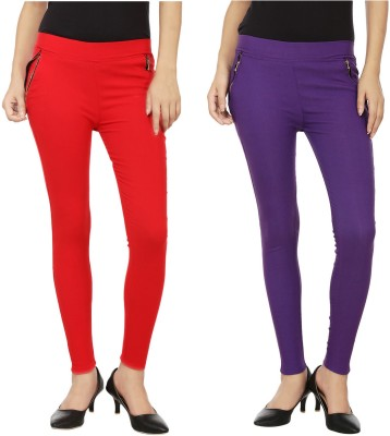 Emblazon Women's Red, Purple Jeggings
