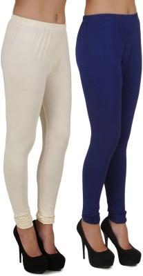 Stylishbae Women's White, Dark Blue Leggings