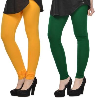 SareeGalaxy Women's Yellow, Dark Green Leggings