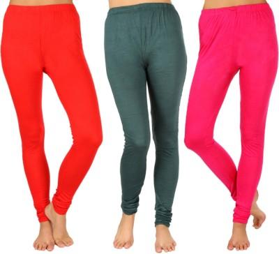 SLS Women's Red, Dark Green, Pink Leggings