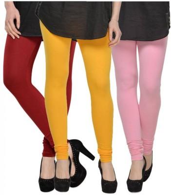 Fashion Zilla Women's Maroon, Yellow, Pink Leggings