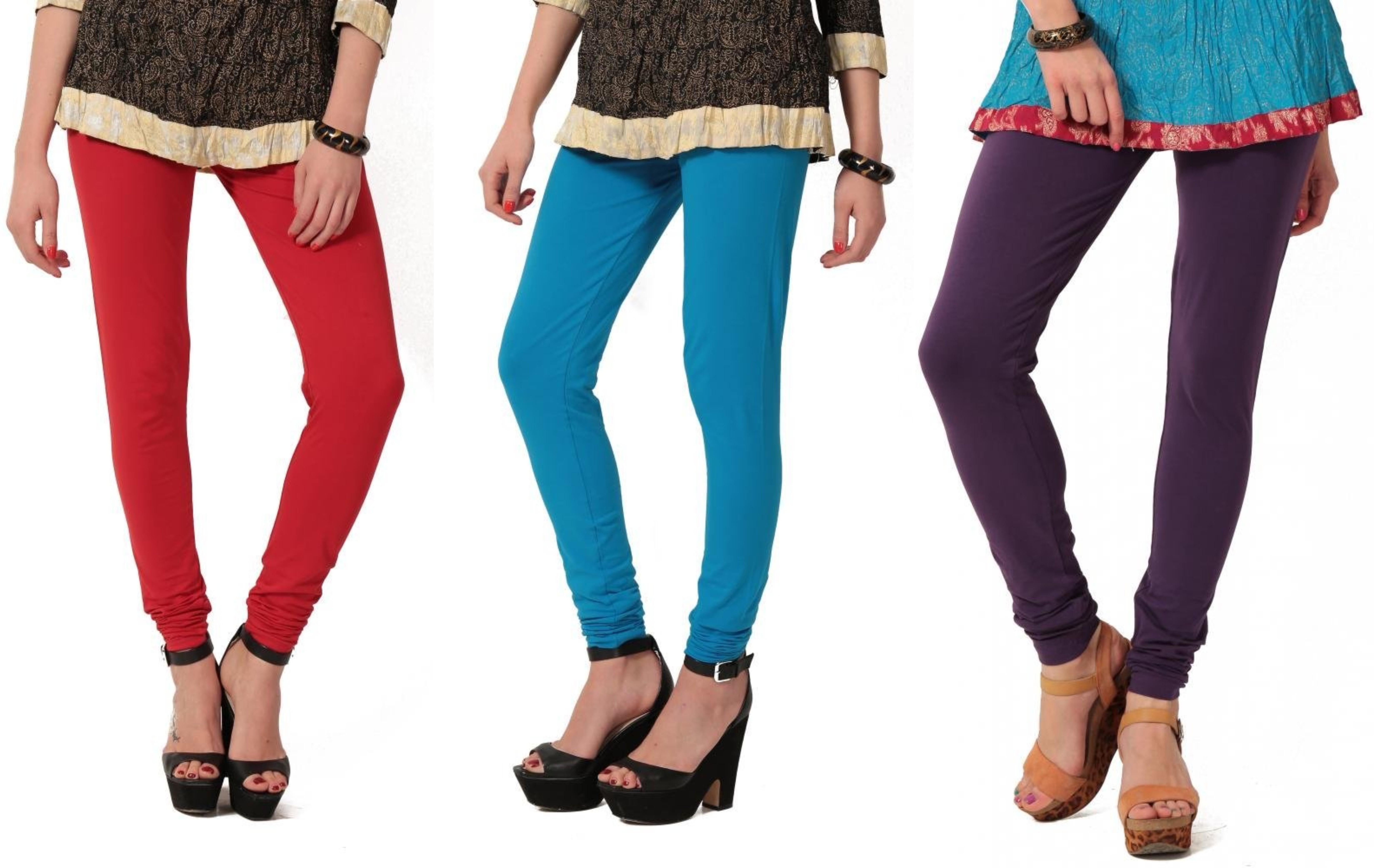 Angel Soft Womens Red, Light Blue, Purple Leggings(Pack of 3)