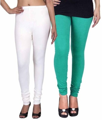 Ayesha Fashion Women's White, Green Leggings
