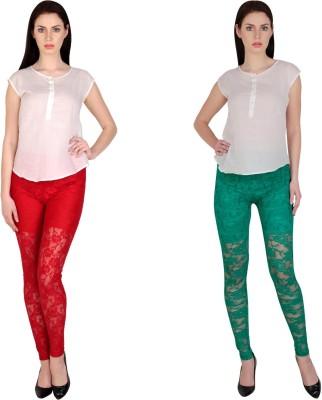 Simrit Women's Red, Green Leggings