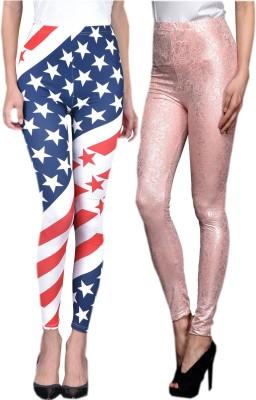 indian street fashion Women's Blue, Pink Leggings